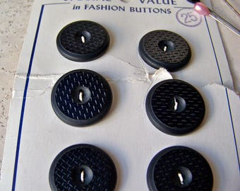 Vintage Buttons Black Glass Buttons La Mode Buttons On Card Button Collector Pin Cushion Sewing Room Vintage 1930s