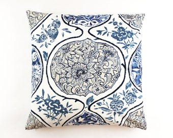 Schumacher Katsugi Pillow (shown in Blue-comes in 8 colors)