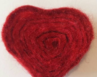 Red handfelted heart brooch /hairtie / fridge magnet