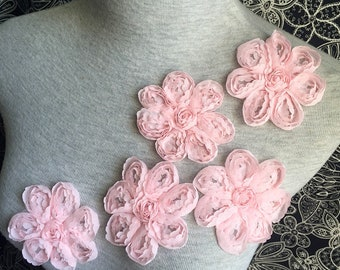 Vintage Applique - 5 PCS Pink Chiffon Flower Applique Lace (A432)