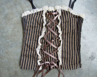 Vtg 90's Cotton Striped Lacey Criss Cross Cotton Bustier Corset Bra Top Size Small Medium Steampunk