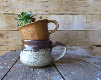 Hand Thrown Studio Pottery Mug - Succulent Planter - Rustic Decor