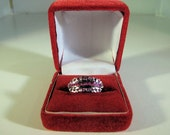 Vintage Ruby Ring  Set in Sterling Silver with three rows of natural gemstones-Size 8.5-Free Holiday Shipping