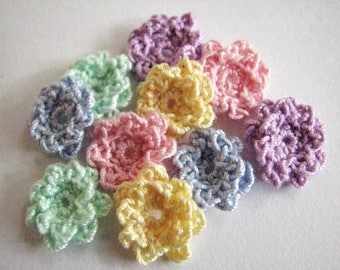 Tiny Crochet Flowers - Pastel Shades in a Cute Ruffle Style - 10