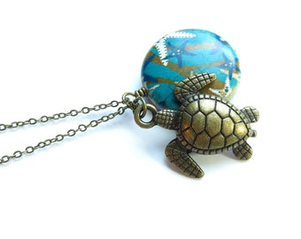 Turtle Ocean Antique Brass Necklace
