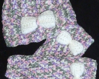 Toddler Hat and Leg Warmer Set - Grey, Pink, Purple and White