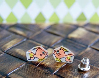 Tiny goldfish, Illustrated Hand-Made Stud Earrings