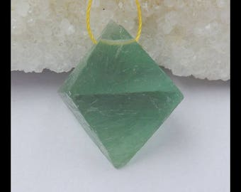 Nugget Faceted Fluorite , Green Fluorite Cabochon,29x22mm,15.9g(c0974)