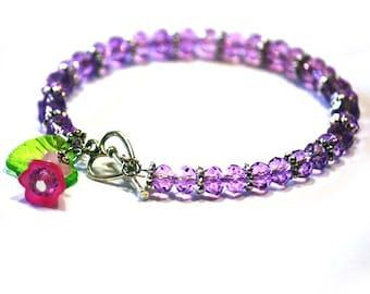 Faceted Crystal Rondelles Bracelet in Lilac Violet Purple
