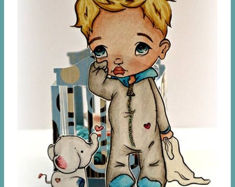 INSTANT DOWNLOAD Big Eye Boy Digital Stamp - Bedtime Hudson Image No.365 by Lizzy Love