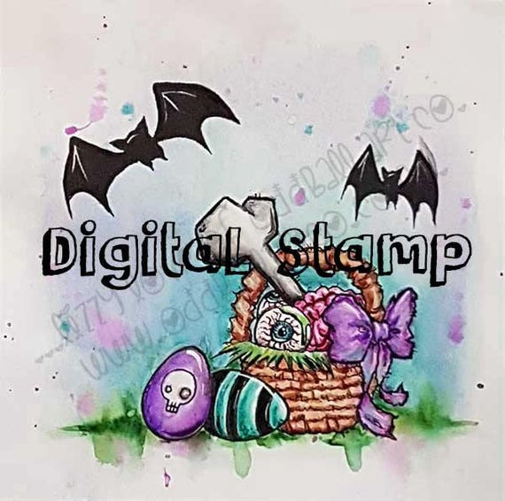 INSTANT DOWNLOAD Creepy Cute Easter Basket & Eggs Digital Stamp - Ghoulish Gifts Image No.374 by Lizzy Love