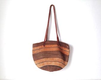 southwest LEATHER JUTE bag strap vintage bucket WOVEN bag