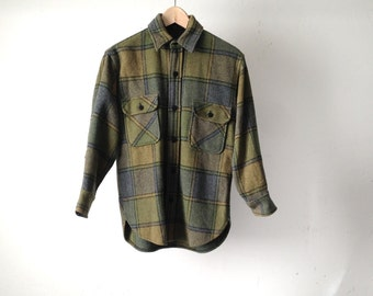 mid century FLANNEL olive and blue TWIN PEAKS flannel shirt button up down