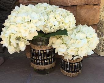 Mason Jar Wrap, Arrows & Burlap, Mason Jar Decoration, Baby Shower, Party, Wedding Decoration