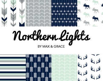 Northern Lights. Navy, Mint, and Gray Bedding. Woodland Crib Bedding. Boy Crib Bedding. Baby Bedding. Woodland Nursery. Deer Crib Set.