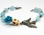 Aquamarine Bracelet Day of the Dead Skull and Bird Rosary Style Jewelry with Blue Rose Handmade Jewelry