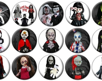 "1"" - LIVING DEAD DOLLS - Set C -  Lot of 15 Buttons - Pin Back Button Badge"