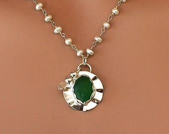 Emerald Sea Glass Necklace Fine and Argentium Silver (935) Jewelry
