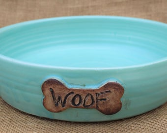 Large ceramic woof dish, dog bowl, Pottery, ready to ship