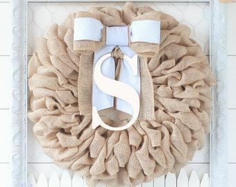 Summer and Summer Wreath, Burlap Wreath Monogram Door Wreath Initial Wreath, Burlap Monogram Wreath, Letter Door Hanger, Wedding Gift