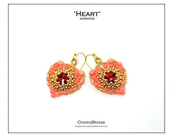 Beading pattern beaded Heart earrings pendant Valentine's Heart made with Seed beads and fire polished beads