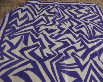 vintage SILK scarf by JAEGER - Purple and White - Wild pattern