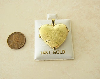 Solid Italian 14K Gold Heart Locket Pendant with etched flowers