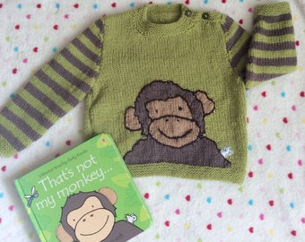 Sweater featuring monkey handknitted to fit age 6months