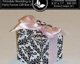40% off Printable wedding or party favors gift box ////// 002