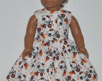 White Kiss Tricycle Print Doll Dress Made To Fit 18 Inch American Girl Doll Clothes