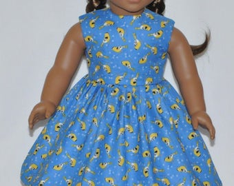 Blue Yellow Bird Doll Dress Made To Fit 18 Inch American Girl Doll Clothes