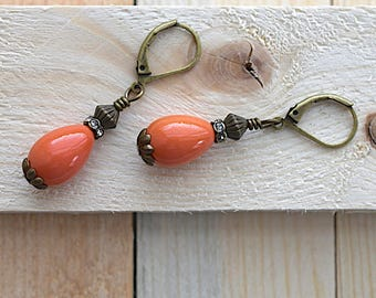 Coral Drops / Rhinestone Rondel / Brass Leverback Earrings