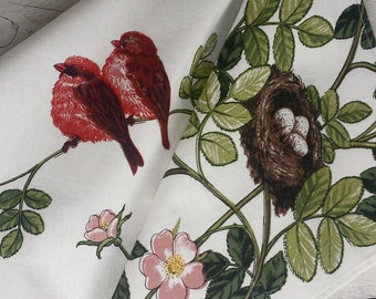 Birds and nest tea towel