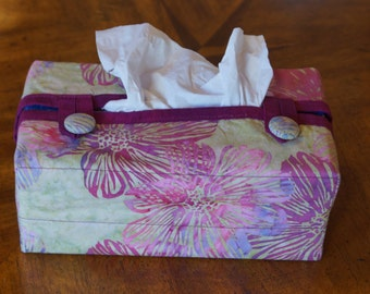 Fitted Tissue Box Cover fits 160 ct. Kleenex brand boxes made of  fuchsia and line green cotton batik fabric