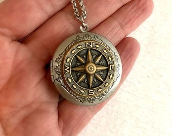 Steampunk Compass Locket Necklace, mixed metal silver gold brass nautical ship steampunk photo picture pendant travel graduation gift gifts