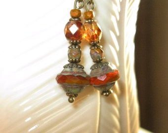 Czech Glass Earrings Orange Picasso Saturn Saucer Bead , Czech Glass Tortoise Fire Polished Faceted Bead - Czech Mustard Bronze Faceted Bead