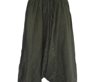 olive green harem pant light wight cotton,yoga,spa,hippie, boho,bohemian, gypsy,aladddib,jumpsuit,genie ,baggy trousers,unisex pants.