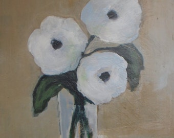 """White flowers in vase Acrylic Painting still life painting white and beige tones 9""""x12"""" wall art -  gift for her"""