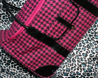 Pink Houndstooth Extra Large Carry On Rolling Wheeled Travel Tote Duffle Bag Suitcase Avant Garde Haute Couture Hot Pink Retro Mod Extreme