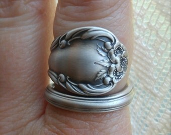 Wild Rose Ring, Sterling Silver Spoon Ring, Wild Rose 1948 International Silver Co, 5th Anniversary Gift, Flower Ring, Custom Ring Size 6610