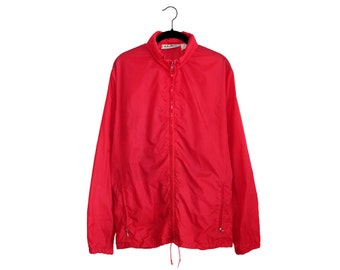 """Vintage L.L. Bean Bright Red """"Aspen Anorak"""" Packable Jacket, Made in USA - Large"""