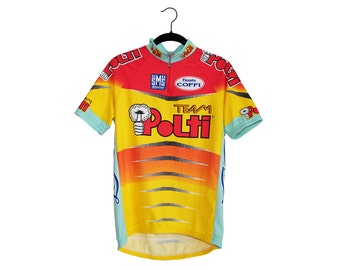 Vintage Team Polti Bright Orange Cycling Shirt, Made in Italy - Large