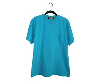 Vintage 90's Eddie Bauer Bright Teal 100% Cotton Crewneck Pocket T-Shirt, Made in USA - Large