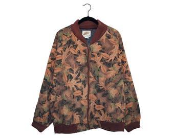 Vintage Kelly Kamo Tru-Leaf Pattern Oversize Bomber Jacket 100% Cotton, Made in USA - XL