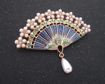 Enamel Asian style faux pearl pearl retro fan Brooch
