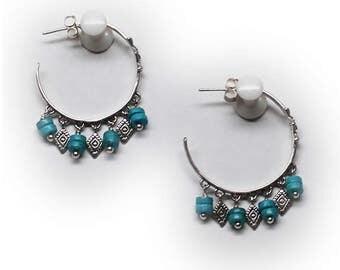 Sterling Silver Turquoise Hoop Earrings with Dangles