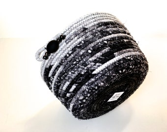 Dramatic Coiled Rope Organizer Basket - Black Tone on Tone Bowl - Sophisticated Black and White - Fiber Art Decor - Upcycled Clothesline