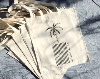 Original hand print canvas tote bag
