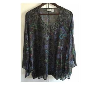 Vintage CHICOS SZ 3 Blue Paisley 100 % Silk Beaded Neckline, Tunic , Free Shipping USA ,  Holida Fashion