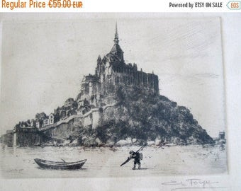 SALE Antique French Charles Forget Engraving of Mont Saint Michel Signed by Charles Forget in Frame